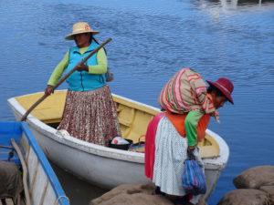 touring peru woman on boat
